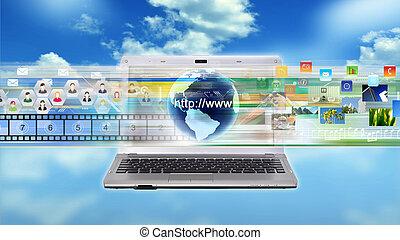 ordinateur portable, multimédia, internet