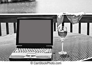 ordinateur portable, noir, vin blanc