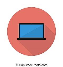 ordinateur portable, ombre, icône