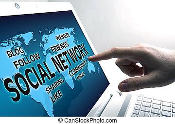 ordinateur portable, ouvert, connexion, internet