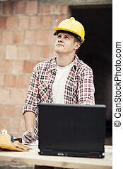 ordinateur portable, ouvrier, charpentier