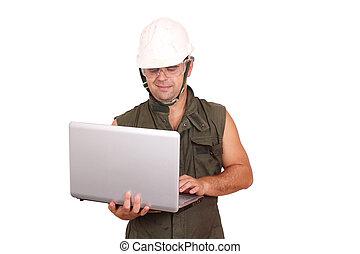 ordinateur portable, ouvrier huile