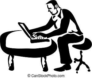 ordinateur portable, ouvrier