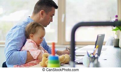 ordinateur portable, père, bureau, fonctionnement, maison, ...