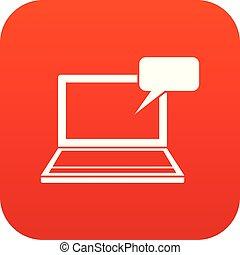 ordinateur portable, parole, numérique, bulle, rouges, icône