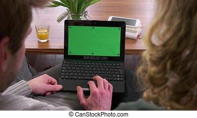 ordinateur portable pc, vert, écran