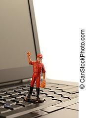 ordinateur portable, petit homme