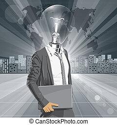 ordinateur portable, phare, homme