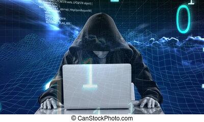 ordinateur portable, pirate informatique, numérique, encapuchonné, utilisation, 4k, animation