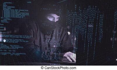 ordinateur portable, pirate informatique, numérique, utilisation, 4k, animation