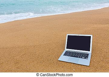 ordinateur portable, plage, dans, temps été