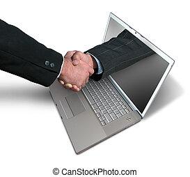 ordinateur portable, poignée main