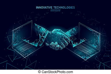 ordinateur portable, poly, technologie, toile, réseau, banner., concept., polygonal, bas, internet, international, 3d, finance, business, accord, illustration, handshake., reussite, contrat, connexion, vecteur, homme affaires