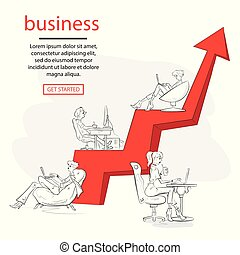 ordinateur portable, professionnel, concept, graphique, vecteur, plat, gens, business., fonctionnement, illustration, reposer ensemble, arrow., equipe affaires, croissance, développer
