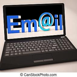 ordinateur portable, projection, inbox, email