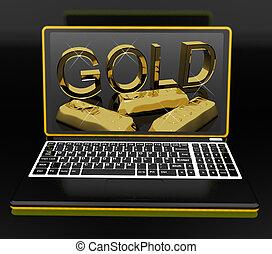 ordinateur portable, projection, or, trésorerie
