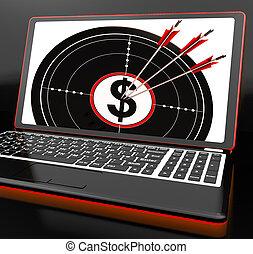 ordinateur portable, projection, symbole dollar, investissements