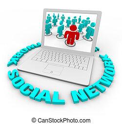 ordinateur portable, -, réseau, mots, social