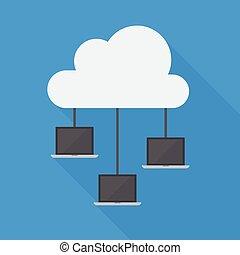 ordinateur portable, réseau, nuage, calculer