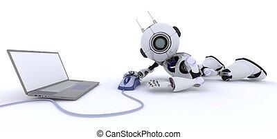 ordinateur portable, robot