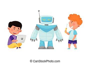 ordinateur portable, robot, peu, illustration, réparation, gosses, vecteur, configurating