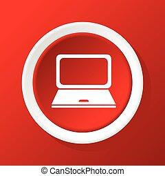 ordinateur portable, rouges, icône