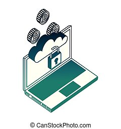 ordinateur portable, sécurité, bitcoin, nuage, calculer