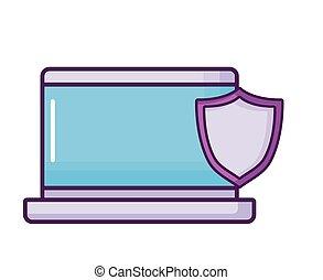 ordinateur portable, sécurité, bouclier