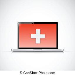 ordinateur portable, santé, croix, illustration, screen.