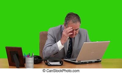 ordinateur portable, sien, fonctionnement, encore, homme affaires, retiré