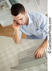 ordinateur portable, sien, homme affaires