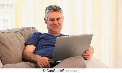 ordinateur portable, sien, mûrir, fonctionnement, homme