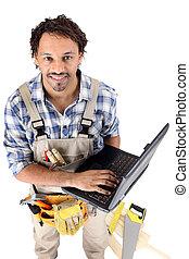 ordinateur portable, sien, tenu, charpentier