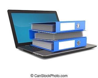 ordinateur portable, sonner classeurs