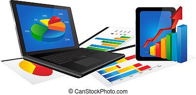ordinateur portable, statistiques, diagramme, tablette
