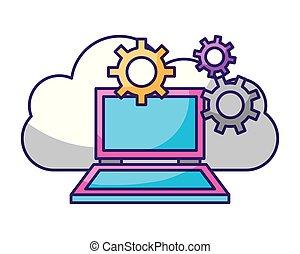 ordinateur portable, stockage, informatique, engrenages, données, nuage