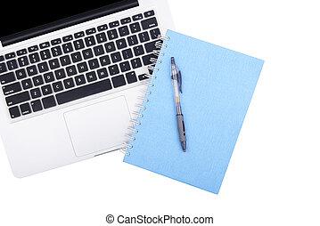 ordinateur portable, stylo, livre, note