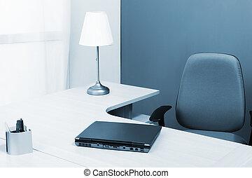 ordinateur portable, sur, a, bureau