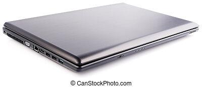 ordinateur portable, sur, blanc, fermé