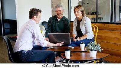 ordinateur portable, sur, cadres, discuter, 4k