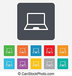 ordinateur portable, symbole., signe, pc, cahier, icon.