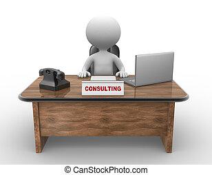 ordinateur portable, téléphone., consultant