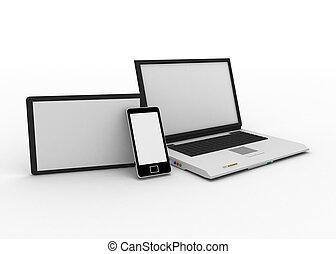 ordinateur portable, téléphone portable, et, tablette numérique, ordinateur pc