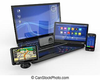 ordinateur portable, téléphone portable, pc tablette, et, gps., 3d