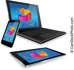 ordinateur portable, tablette, et, intelligent, téléphone, à, business, graphique