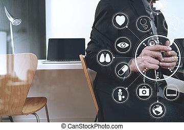 ordinateur portable, tablette graphique, fonctionnement, docteur, hôpital, moderne, virtuel, téléphone, informatique, stéthoscope, numérique, icônes, bureau, monde médical, intelligent