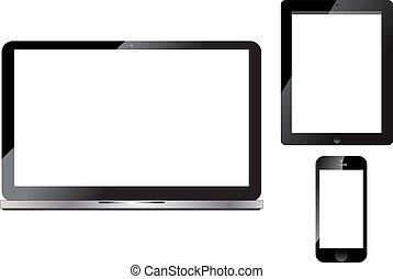 ordinateur portable, tablette, intelligent, téléphone