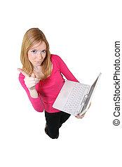 ordinateur portable, tenue femme, pointage