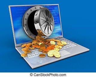 ordinateur portable, trésor, 3d