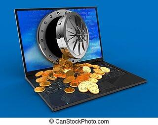 ordinateur portable, trésor, informatique, 3d